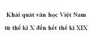Soạn văn 10: Khái quát văn học Việt Nam từ thế kỉ X đến hết thế kỉ XIX