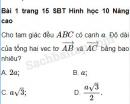 Bài 1, 2, 3, 4, 5 trang 15 SBT Hình học 10 Nâng cao